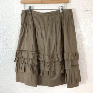 Worth Ruffle Tiered Brown Cotton Skirt Size 6